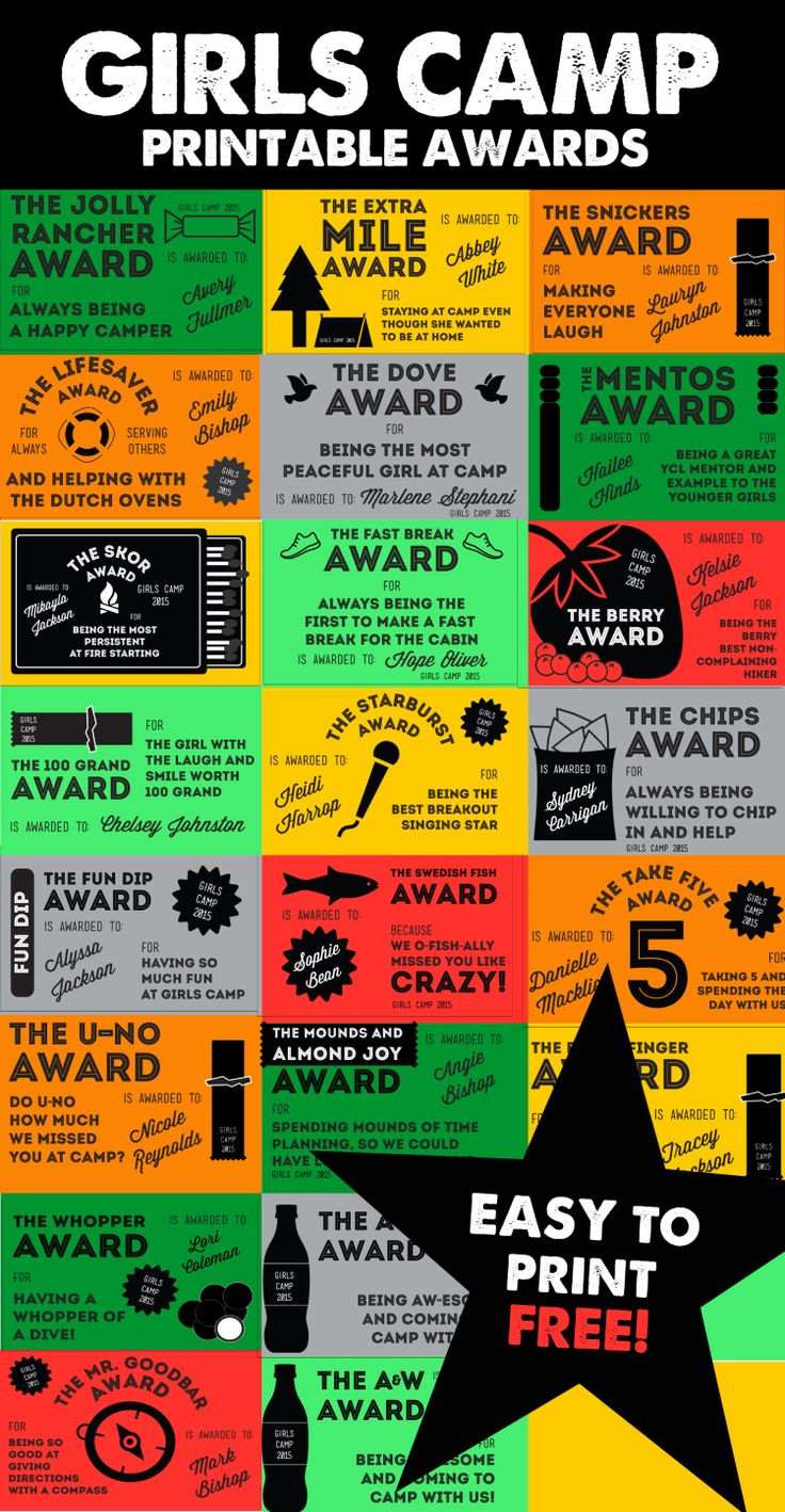 Girls Camp Printable Candy Awards