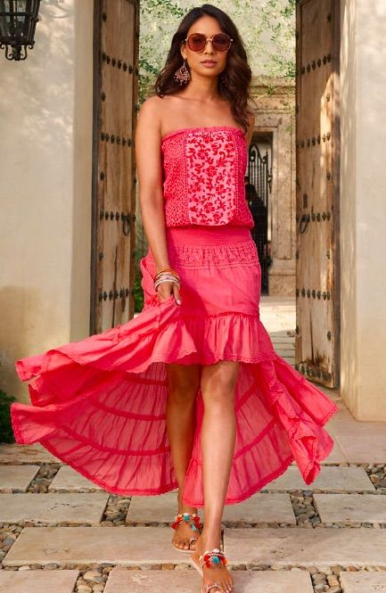 3b68640679cb Get set to be resort-ready in this sexy, strapless crochet maxi dress in a  gorgeous coral hue with eyelet details on a blouson bodice, ...