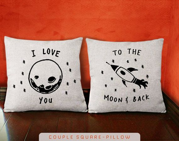 I love you to the moon and back  His and Hers Pillow by KOKONOKI