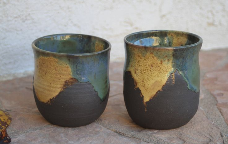 Black Clay Cup set of 2 handmade ceramic cups modern contemporary teacup tumbler beaker pottery wine cup gifts for him unique wedding gifts