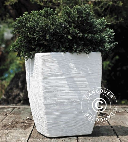 PLANTER FIORDALISO 57.5X73 CM, WHITE Beautiful and modern Italian produced planter in anti-shock, light weight, UV- and weather resistant, recyclable plastic. Realistic natural stone look.