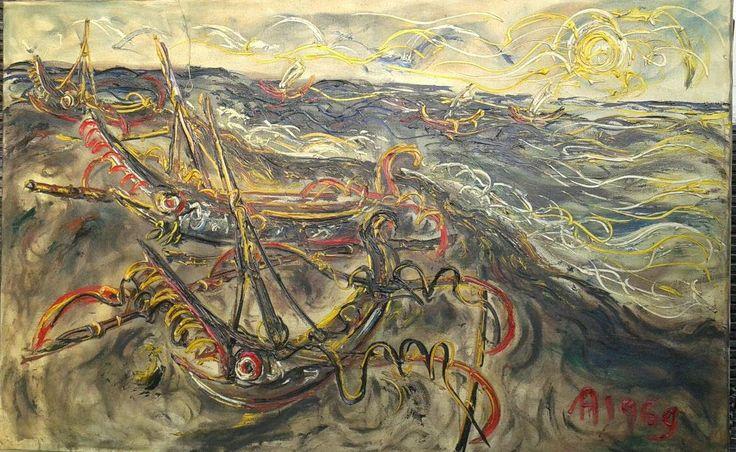 For sale   Kusamba Ship, repro of maestro Affandi, oil on canvas, 150 x 95 cm   call/WA : +6287838671118        Art painting, Design, Chinese Painting, Birthday Gift, Paintings