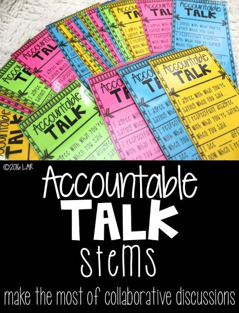 Accountable Talk Stems- Freebie! (Life in Fifth Grade)                                                                                                                                                                                 More