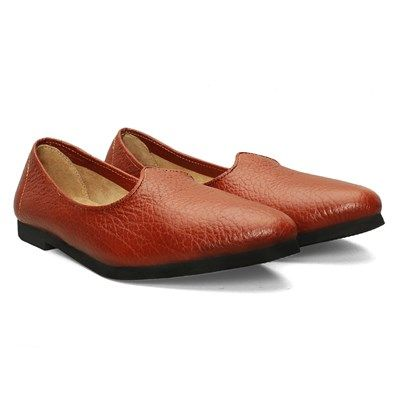 BUY #TANLEATHER #JALSA SLIP-ON WITH BLACK SOLE BY BARESKIN AT BEST PRICE