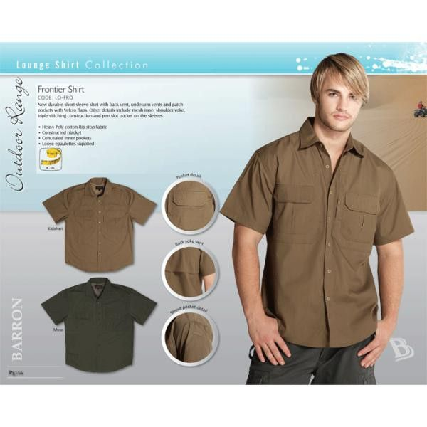 Frontier Shirt Durable short sleeve with back vent, underarm vents and patch pockets with Velcro flaps