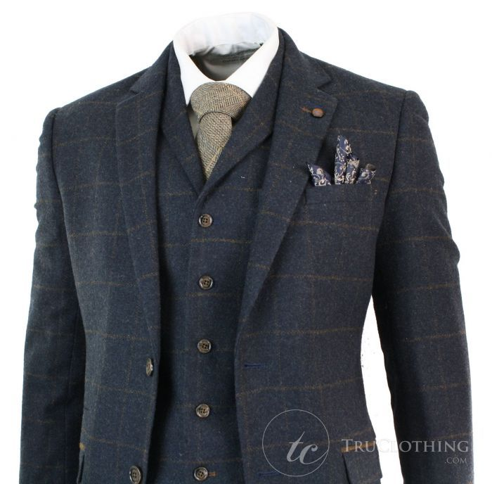 Gray Herringbone Wool Men 3 Piece Suits Vintage Formal Wedding Business Tuxedos