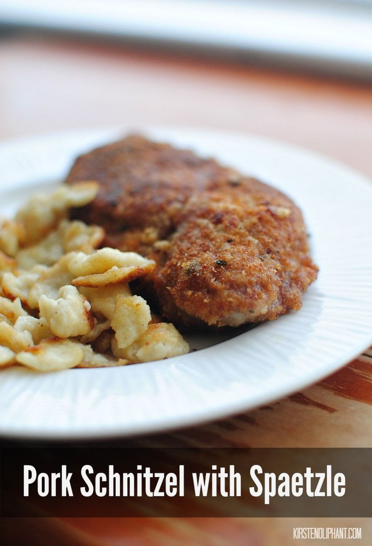 A simple recipe for pork schnitzel and spaetzle--two German favorites. #WeaveMade #GoAllNatural #ad @smithfieldfoods