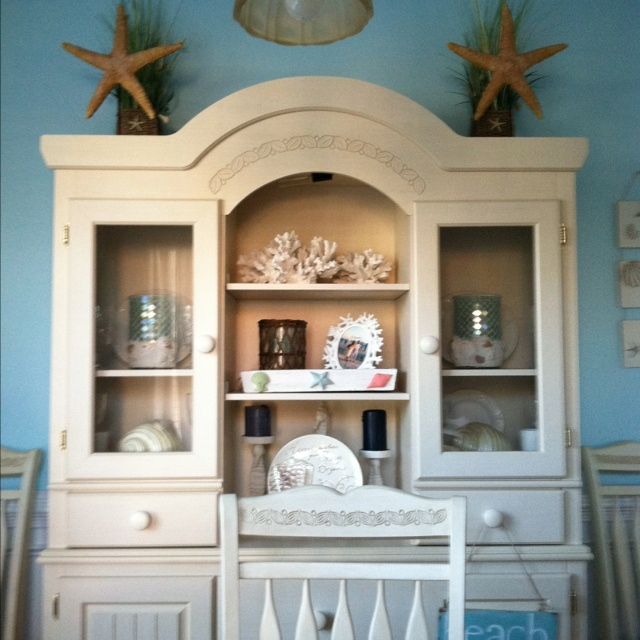 This Is Our Beach Themed Dining Room Hutch. I Found All Of The Items In