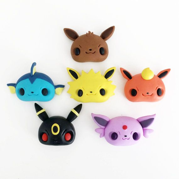 Mini Pokemon Series: Eevee Evolutions Inspired Magnet or Pin Clay Figurines