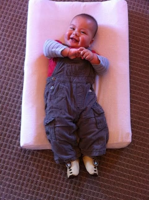 Kyan having a giggle in his new Owl Shupeas