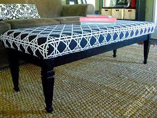 Vintage Junky - Creating Character: How To: Turn a Coffee Table into an Upholstered Bench