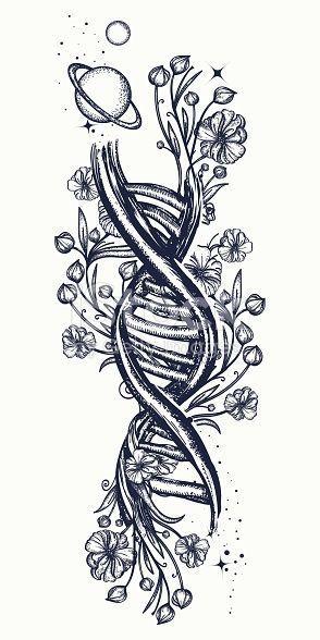 DNA-Kette und Jugendstil-Blumentätowierung. Symbol für Kunst, Wissenschaft, …..