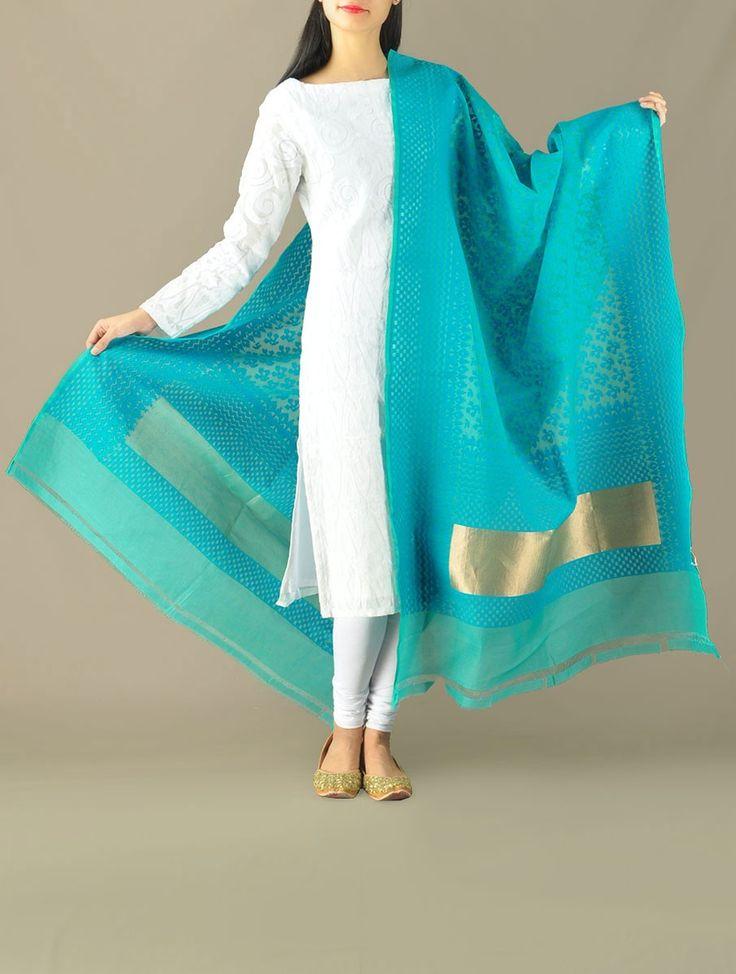Blue Mughal Mosaic Cotton Zari Dupatta