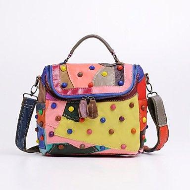 miss ying® kvinnor färgglada handväska godis färg äkta läder axelväska – SEK Kr. 328