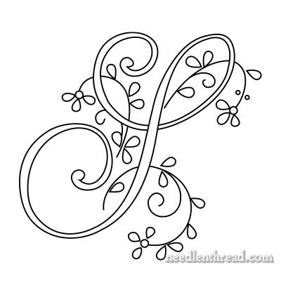 Monogram for Hand Embroidery: S via Mary Corbet