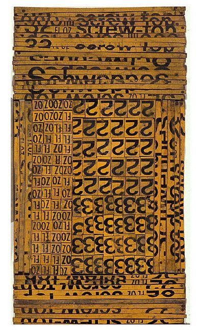 Rosalie Gascoigne Ledger, 1992 sawn / split soft drink crates on plywood 80.7 × 43cm