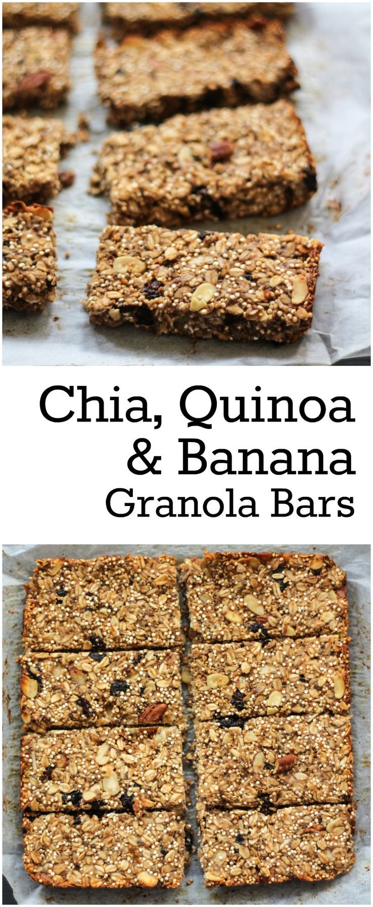 These granola bars are packed with banana dried fruit quinoa oats and chia seeds. They're a great on the go breakfast or fuel up snack! Gluten free too.