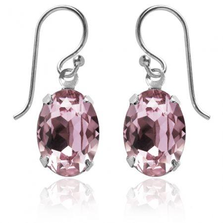Swarovski Crystal Oval Earrings Antique Pink - hardtofind.