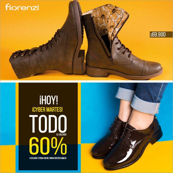 ¡HOY CYBER MARTES! TODO el calzado con el 60% de descuento exclusivo tienda online, ingresa ahora a www.fiorenzi.com.co  ¡Envios gratis en todo el pais!