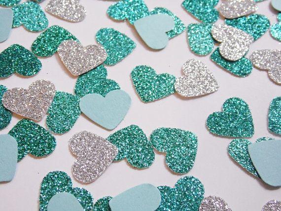 Silver and Teal Glitter Heart Confetti, Wedding Reception Decoration, Table Scatter, Paper Confetti, Bridal Shower Decor