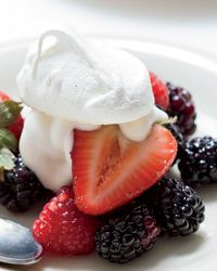 summer berries with cumin meringues and creme fraiche