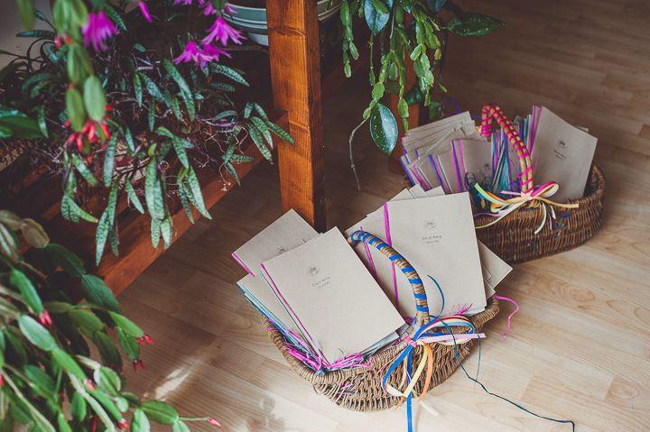 Helen and Anthony's Bright and Fun Homemade Wedding with a Hint of Vintage. Love these baskets!
