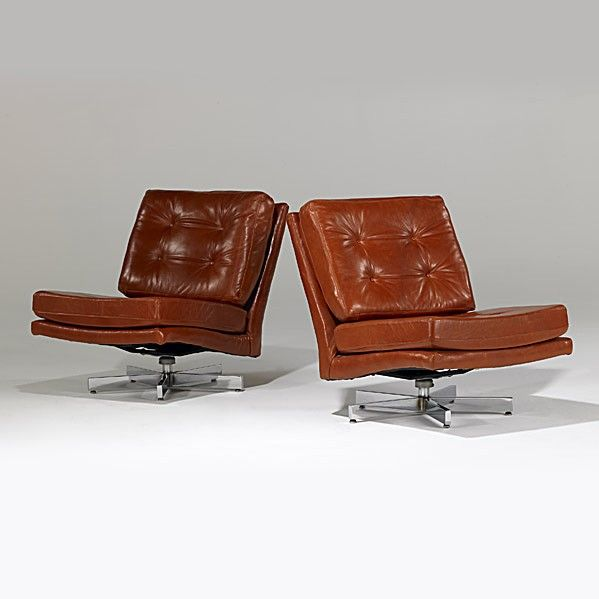 Milo Baughman; Leather And Chromed Steel Lounge Chairs For Thayer Coggin,  1970s