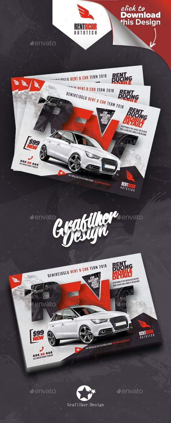 auto discount, auto flyer, auto repair, auto spare parts, automobile, autoshowroom, business, car rental, corporate, flyer, grafilker, limousine, meeting car, motorbike, motorcycles, professional, rent a car, sightseeing car, sport car, taxi flyer, vespa, vip rent a car, wedding car Rent A Car Flyer Templates Fully layered  INDD  Fully layered  PSD  300 Dpi, CMYK  IDML format open  Indesign CS4 or later  Completely editable, print ready Text/Font or Color can be altered as needed All Image ...