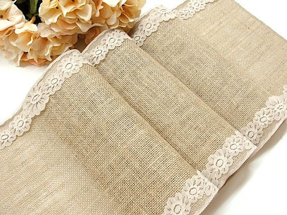 Burlap table runner with country beige lace rustic chic wedding tablecloth, rustic wedding runner, handmade in the USA,