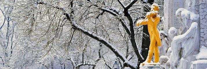 A beautiful shot of Johann Strauss statue in Vienna locked in frost