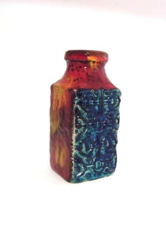 Bay Keramik 984 20 Vintage Funky Relief Pattern Vase