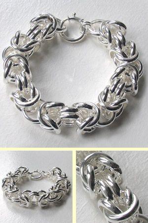 Chunky Sterling Silver Byzantine Bracelet