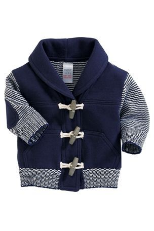 Knitted and Jersey Mix Cardigan Nathan will need this, Too cute!