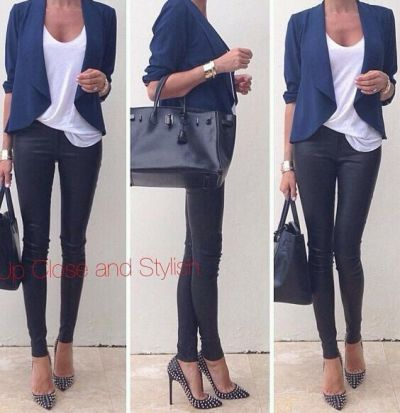 Black Christian louboutin pigalle heels, leather skinnier and a white t and blazer. Perfection!