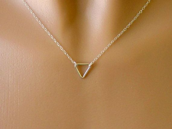 Minimalist Sterling Silver Triangle Necklace - Simple - Small - Dainty on Etsy, $25.00