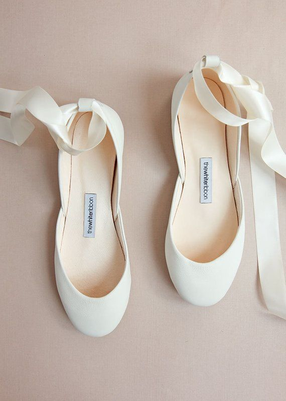 Light Ivory Wedding Ballet Flats In Leather With Lace Up Satin Etsy Wedding Ballet Flats Comfy Wedding Shoes Bridal Shoes