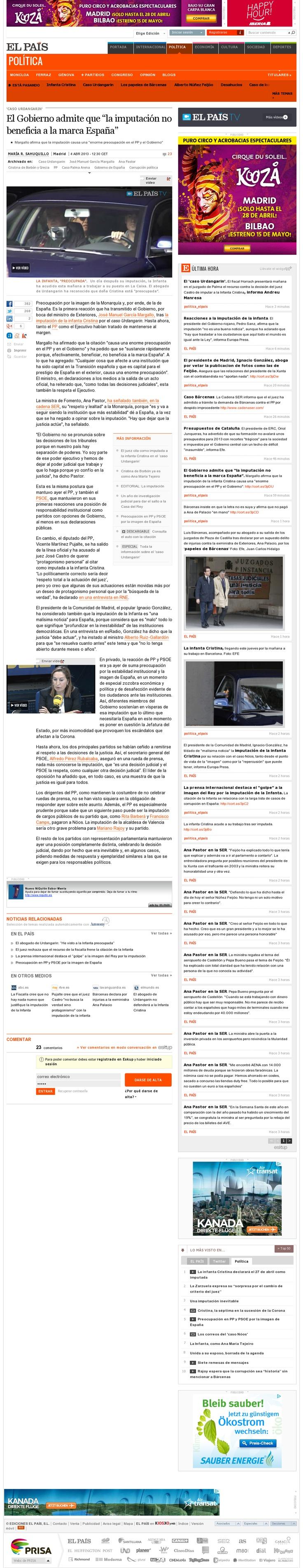 La imputación de Cristina no beneficia a la Marca España