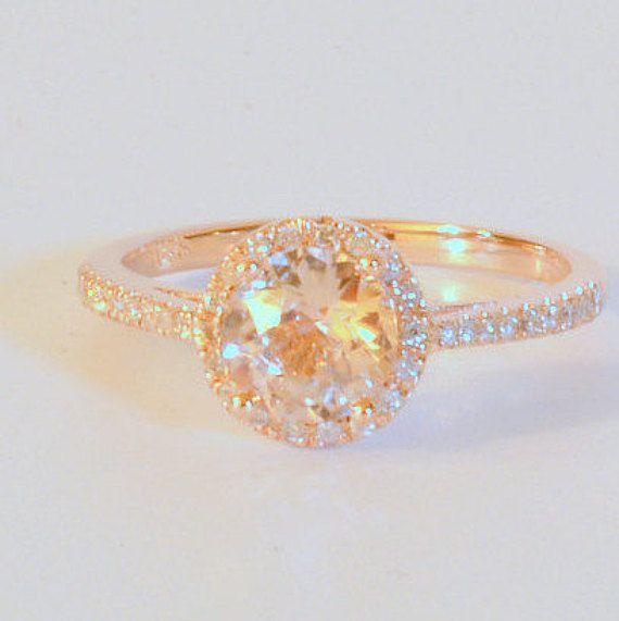 ronde perzik saffier verlovingsring gift voor haar door AllSapphires