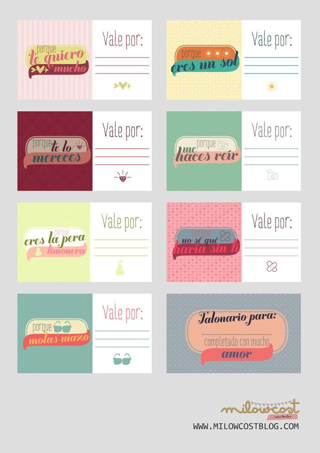 imprimible: talonario de vales | milowcost♥