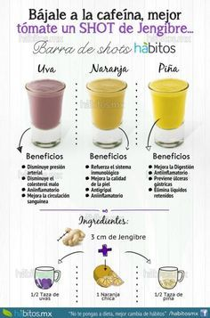 Sustituye la cafeína con jengibre + uvas, naranja o piña