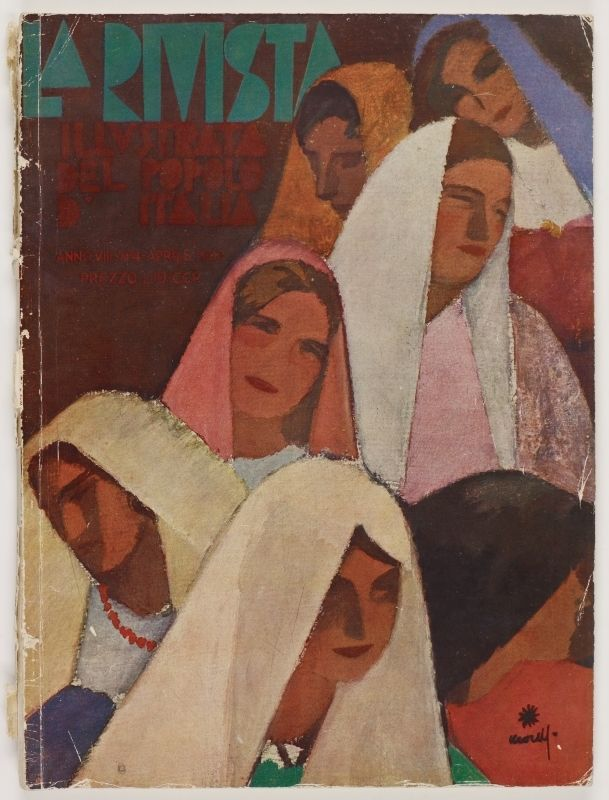 La Rivista, anno VIII, n. 4 (Aprile, 1930), front cover: [Illustration of various women with veils on their heads, signature illegible]