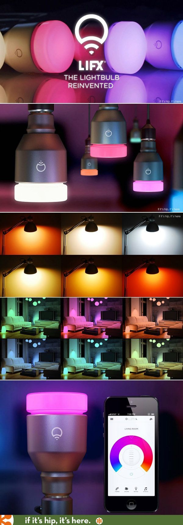 LIFX wifi-enabled multi-color light bulbs that use little energy and are controlled by your smartphone. Discount code at the link.
