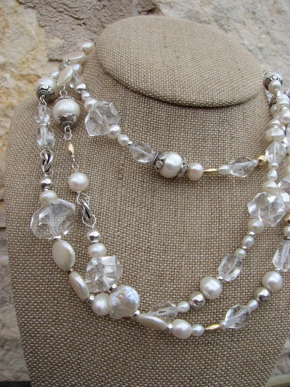 Pearl, rock crystal quartz, bold beautiful long necklace