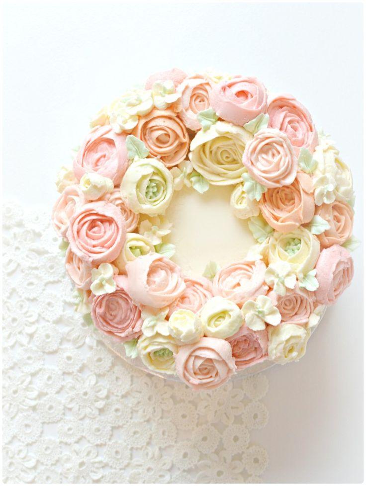 Korean Style Buttercream Flower Wreath Cake Cherie Kelly London