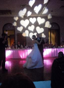 Father/Daughter Dance at Unity Village . Under table lighting with Heart Gobo.