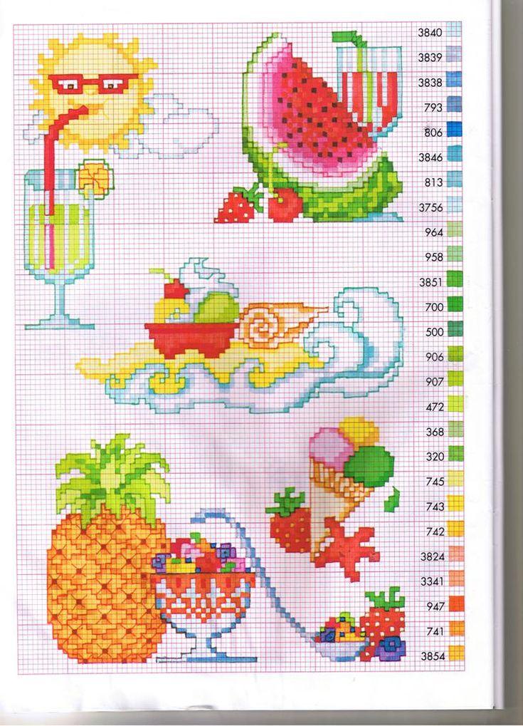 Schema punto croce Alimenti-estivi