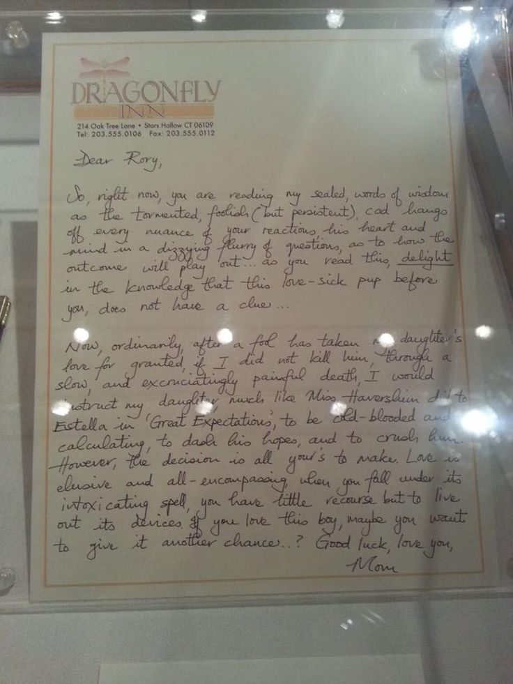 Lorelai's letter to Rory about Logan