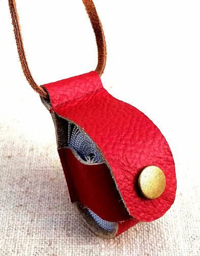TAPE MEASURE CASE Leather Red Holder Hanger Natural Leather String Necklace Antique Brass Snap Fastener Unique Handmade Gift Sewing Craft