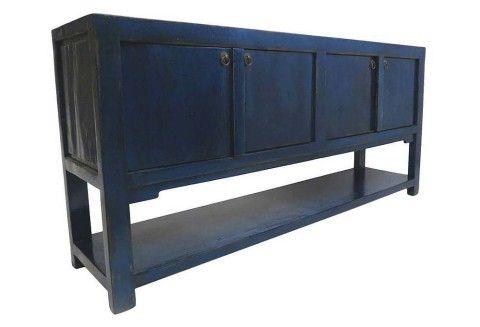 One Kings Lane - Organize & Display - Talia 4-Door Tall Sideboard, Blue