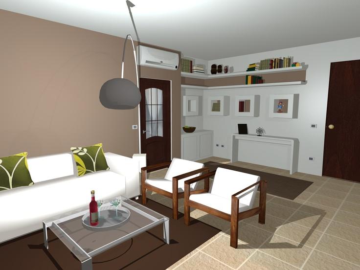 il salotto con la libreria a cubi in cartongesso  www.kamaleontika.it